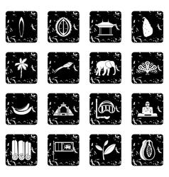 Sri Lanka travel icons set vector