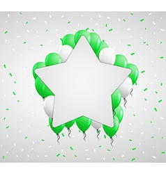 Star badge and green balloons vector