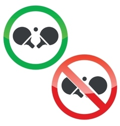 Table tennis permission signs set vector image