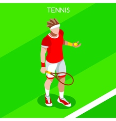Tennis 2016 Summer Games Isometric 3D vector image