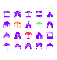 Tent color silhouette icons set vector
