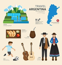 Travel Concept Argentina Landmark Flat Icons vector