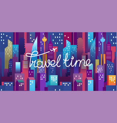 Travel time horizontal with lettering logo modern vector