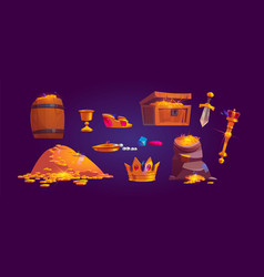 Treasury icons golden coins jewelry and gem vector