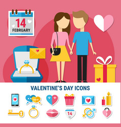 valentines day icon set vector image