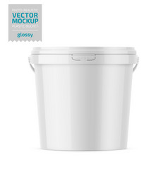 white glossy plastic bucket mockup with label vector image