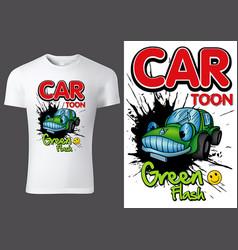 White t-shirt design with cartoon car vector