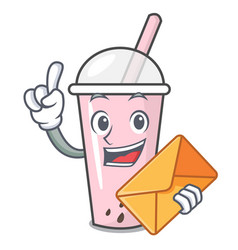 With envelope raspberry bubble tea character vector
