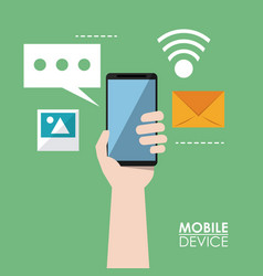colorful poster of mobile devices with hands vector image vector image