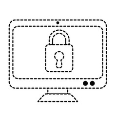 computer display with padlock vector image