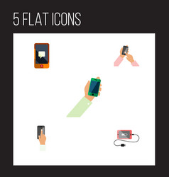 Flat icon smartphone set of keep phone vector
