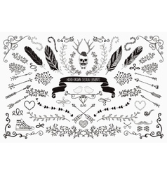 Hand-Drawn Floral Design Elements vector image vector image