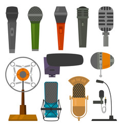 microphone audio dictaphone and microphones vector image vector image