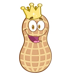 Peanut Mascot Character With Golden Crown vector image vector image