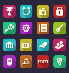 set flat icons of business office and financial vector image vector image