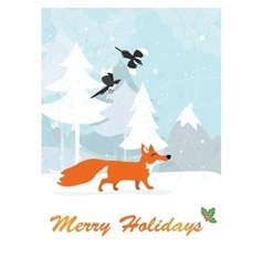 fox in winter forest vector image vector image