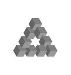 Impossible triangle in grey 3d cubes arranged as vector