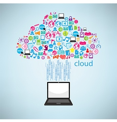 Computer clicking cloud icon Concept EPS10 vector image