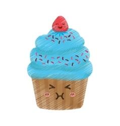 Delicious cupcake dessert vector image