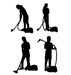 Silhouette of a girl with vacuum cleaner vector