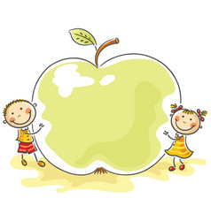 little kids with a giant apple vector image vector image
