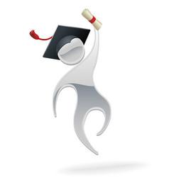 metallic man graduation concept vector image vector image