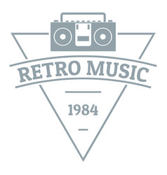 retro music logo simple gray style vector image vector image