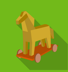 Trojan horse icon in flat style isolated on white vector
