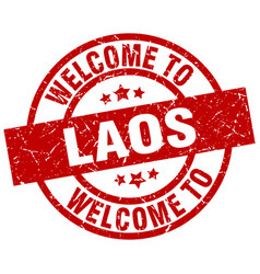 welcome to laos red stamp vector image