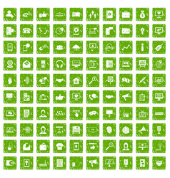 100 help desk icons set grunge green vector image