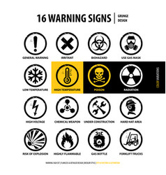 16 grunge warning signs vector image