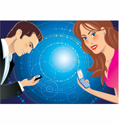 A girl and a guy talking through sms vector
