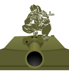 A soldier on the tank vector