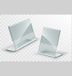 Acrylic table tent card holder isolated vector