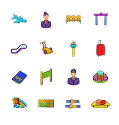 Airport set icons set cartoon vector