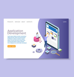 Application development website landing vector