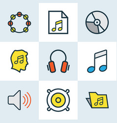 Audio colored outlines set collection of sound vector
