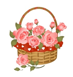 Basket with bunch of roses vector image