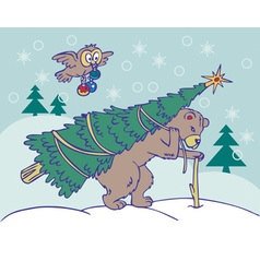 Bear carries a Christmas tree and owl flying vector