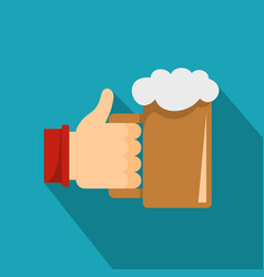 beer in hand icon flat style vector image
