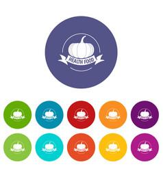 bio health food icons set color vector image