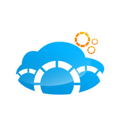 blue cloud data management logo design vector image