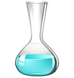 Blue liquid in glass beaker vector image