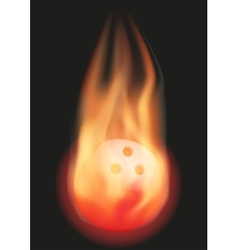 Bowling ball with flame vector