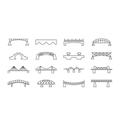 Bridges thin line icons set vector image