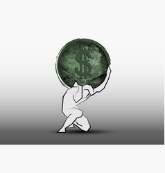 Businessman carrying a big stone american dollar vector