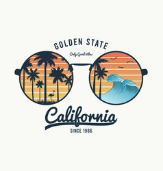 california glasses t-shirt with palm trees vector image