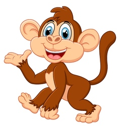 Cartoon monkey presenting vector image