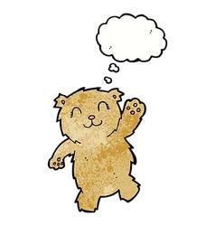 Cartoon waving teddy bear with thought bubble vector