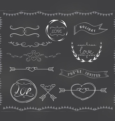 Chalkboard wedding vintage set vector